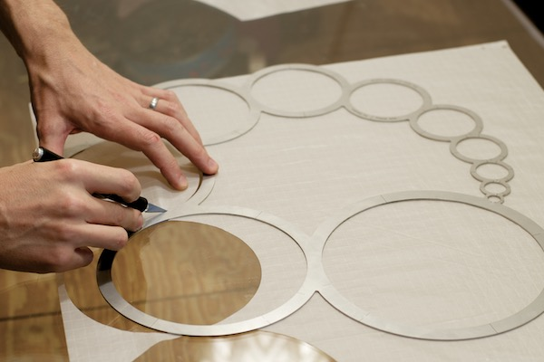 WindFire Designs Circle Tool cutting and sewing ripstop circles to make the clew on fabric