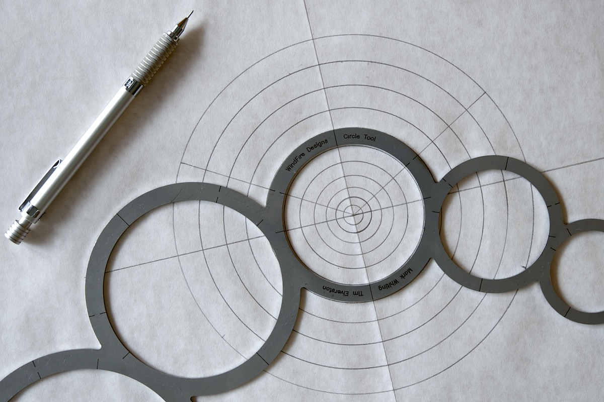 WindFire Designs Metal Circle Tool showing markings and increments for the larger metal circle template