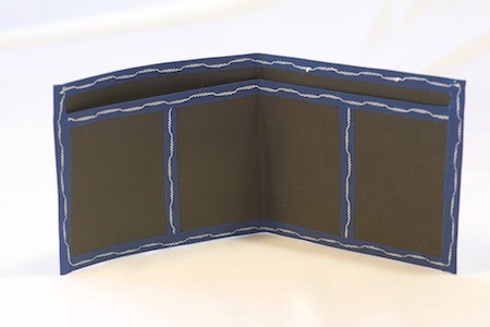 Pointy Spendy wallet inside view of black with blue trim