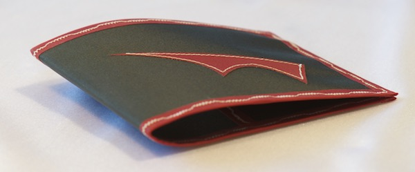 Pointy wallet - Spendy model - black with red trim - lying away empty and closed