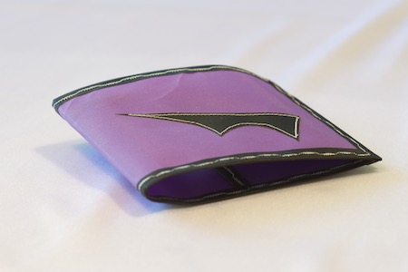 Pointy Wallet Spendy Model Purple with black trim folded closed