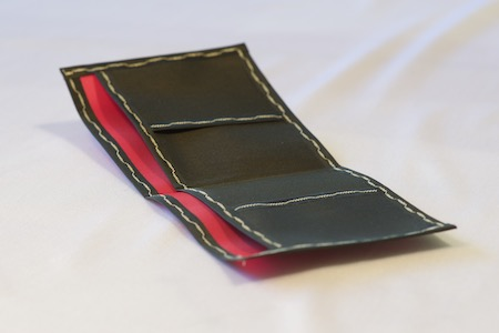 Pointy Wallet Spendy model - pink with black trim and interior