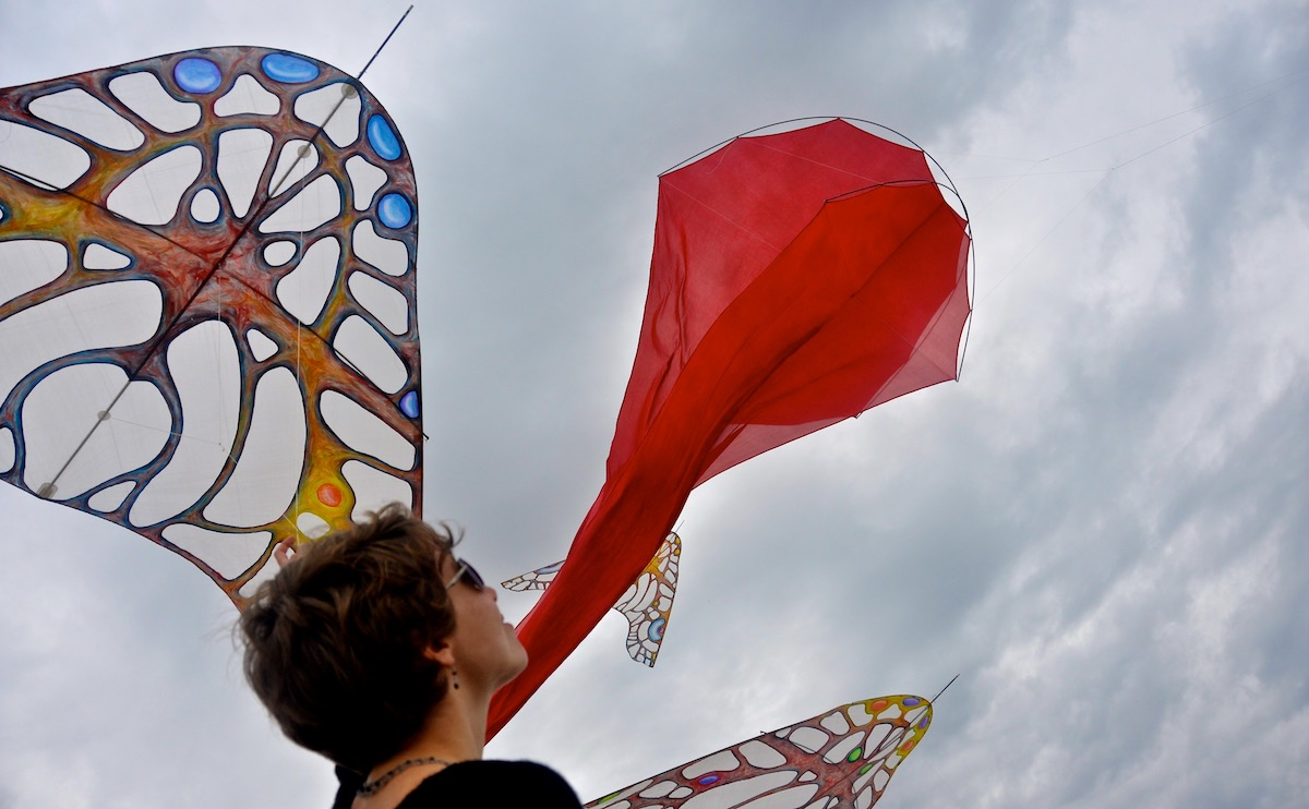 Ruth Whiting and 4 windfire designs kites in a show