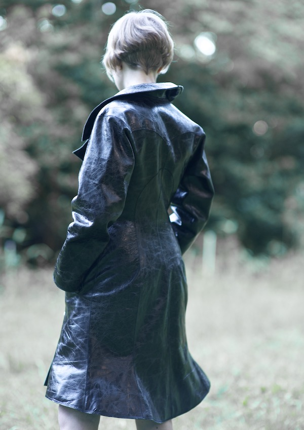Leather coat with silk lining and full leather pockets -  design by Tim Elverston