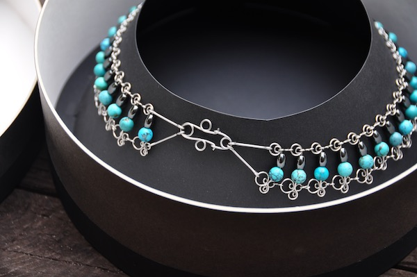 Stainless steel and turquois necklace by Tim Elverston