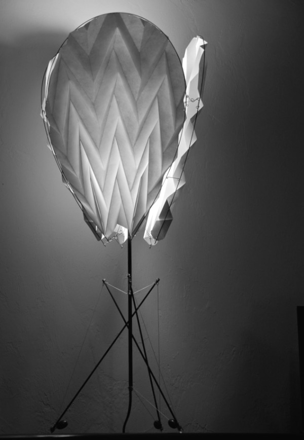 Tear drop lamp designed by Tim Elverston - origami paper, carbon fiber, spectra