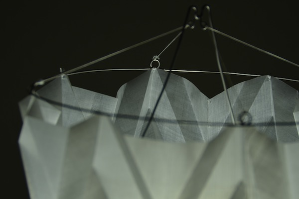 detail of sewn and hand formed origami lamp shade design by Tim Elverston