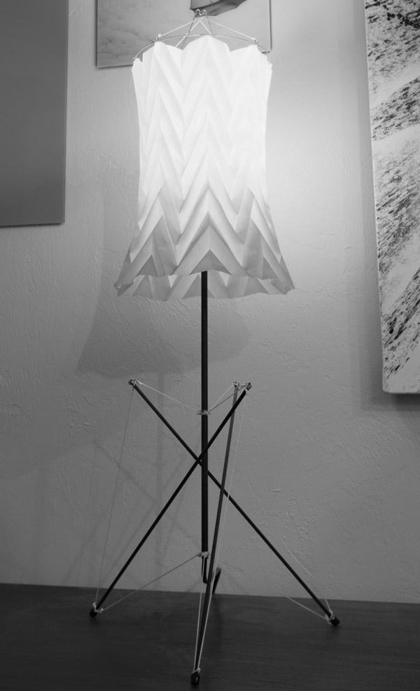 Surface Lamp - tensegrity lamp with origami shade by windfire Designs