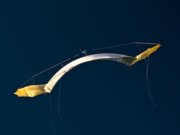 O2 Flame in flight - silk kite by Tim Elverston