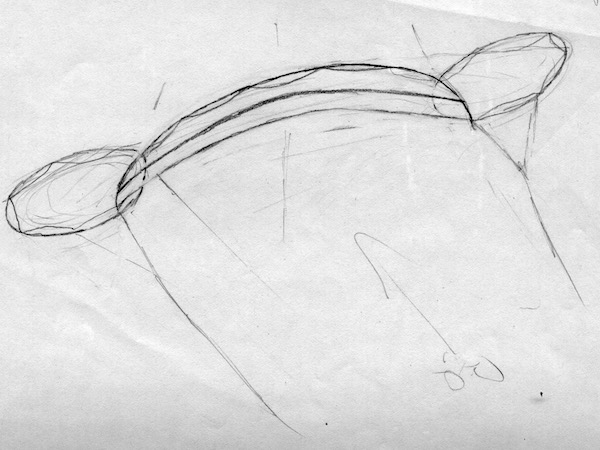 sketch by tim elverston - pencil on paper - of O2 Flame concept