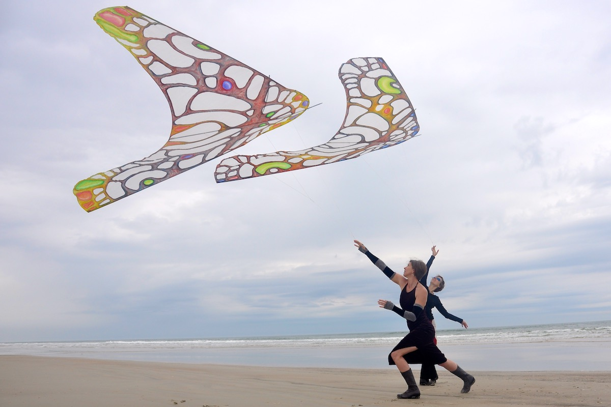 Ruth Whiting and Cameron Richardson flying ColorWing Morpho Kites by WindFire Designs