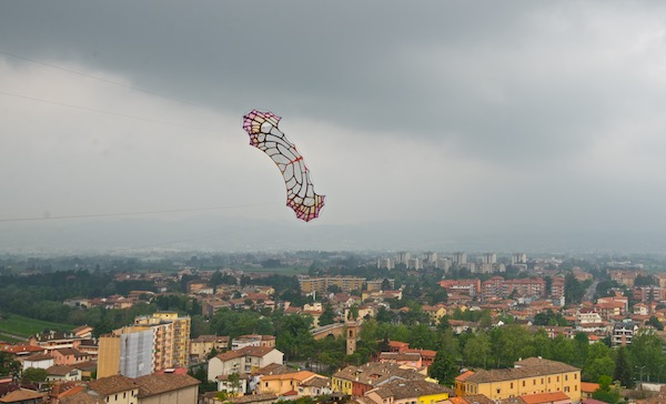 ColorWing Flame flying over Cesena, Italy from the top of a castle