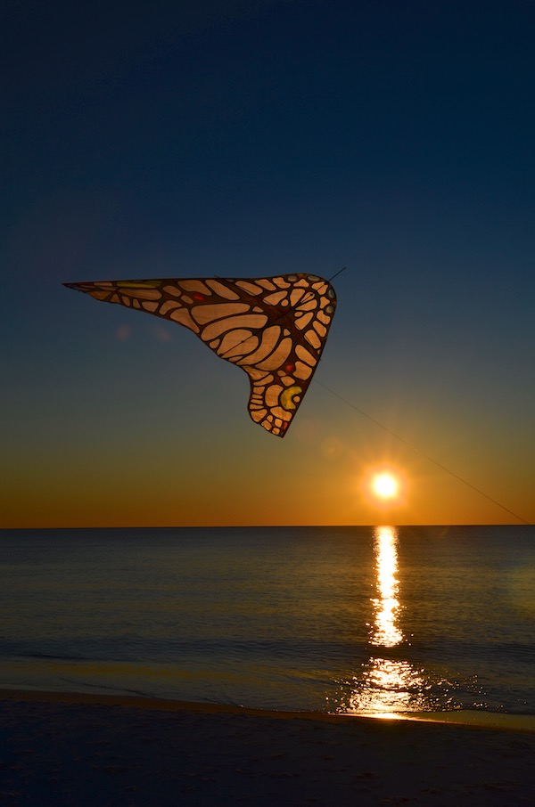 ColorWing Morpho Glider over the Gulf of Mexico, flown by Ruth Whiting, photo by Tim Elverston