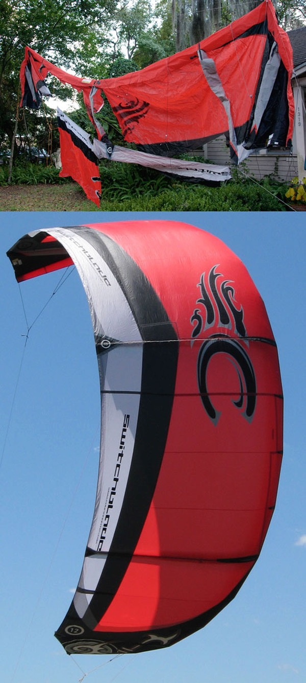 Red Cabrinha purchased on ebay and sent to windfire designs for repair on an extensively damaged kite surfing kite