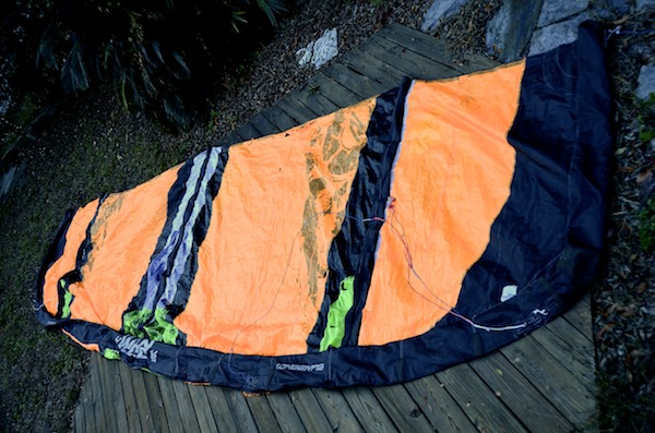 same slingshot kite after sewing repair by windfire designs